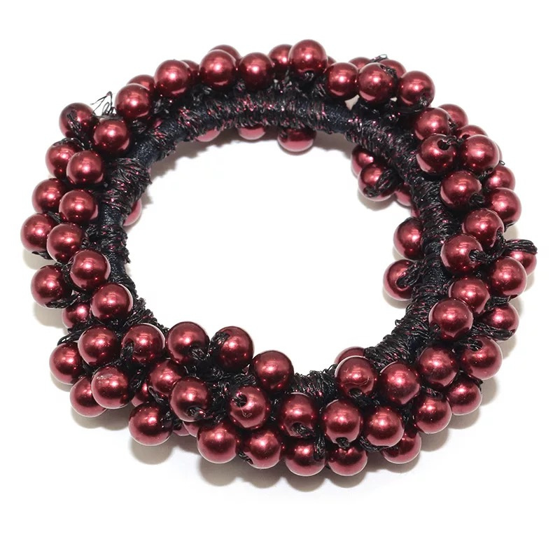 Parel knot scrunchie burgundy ( bordeauxrood)
