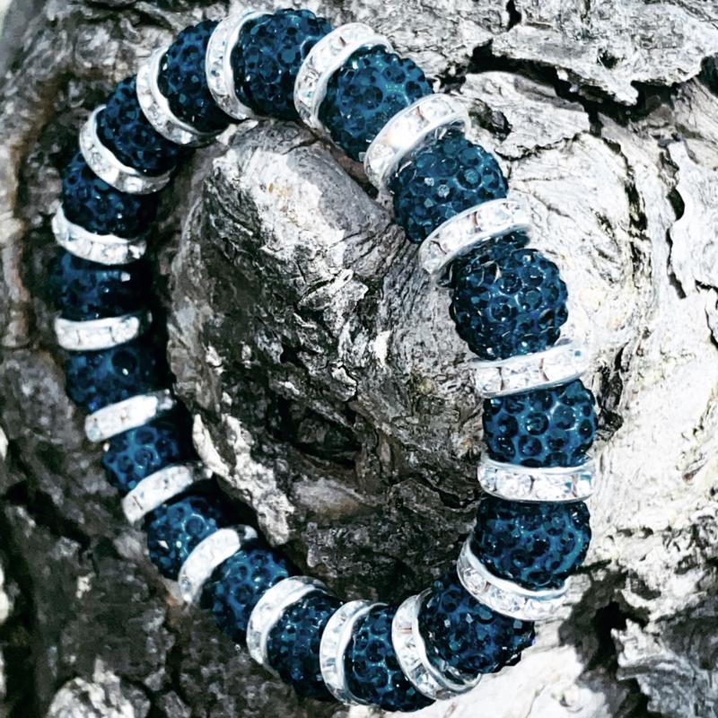 Knotband glamspacer donkerblauw/zilver