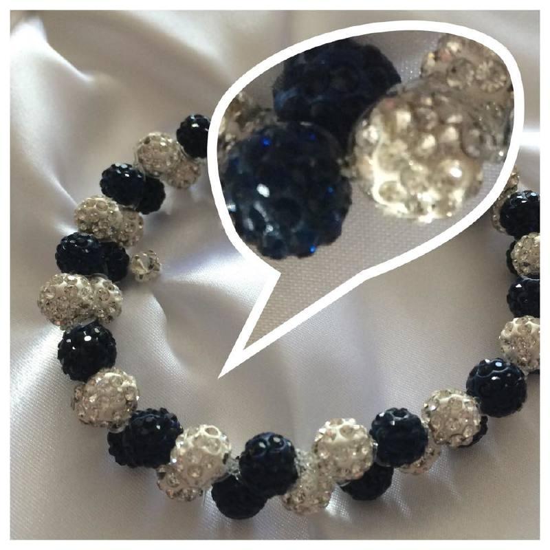 Knotband Glamballa donkerblauw/witzilver