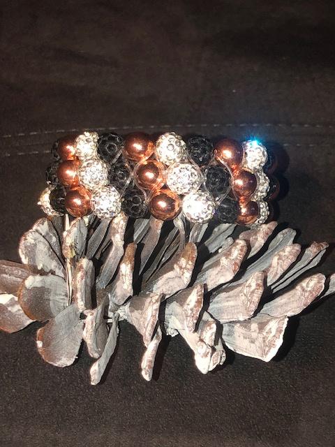 Glamballa elastische knotband wit/rosegoud/zwart