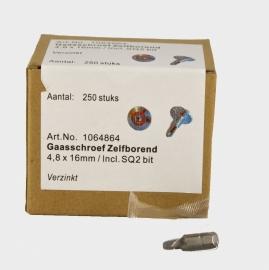 OS Zelfborende schroef met kop 13mm. 250 stuks met gratis bitje.
