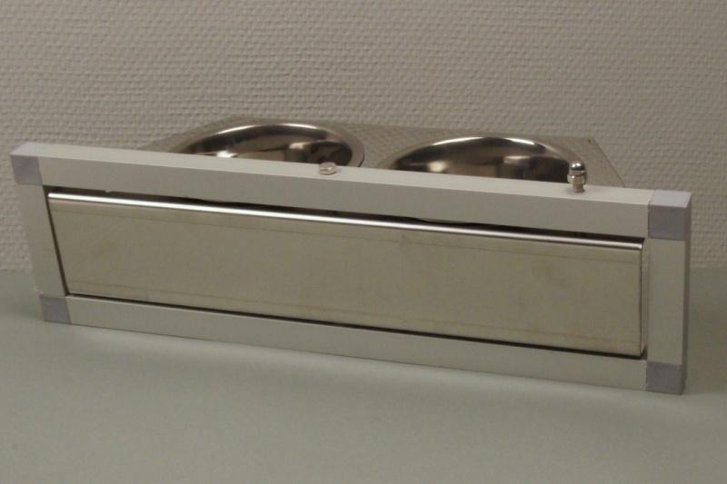 VDP 2 F RVS voederdraaiplateau met 2 bakjes inclusief frame