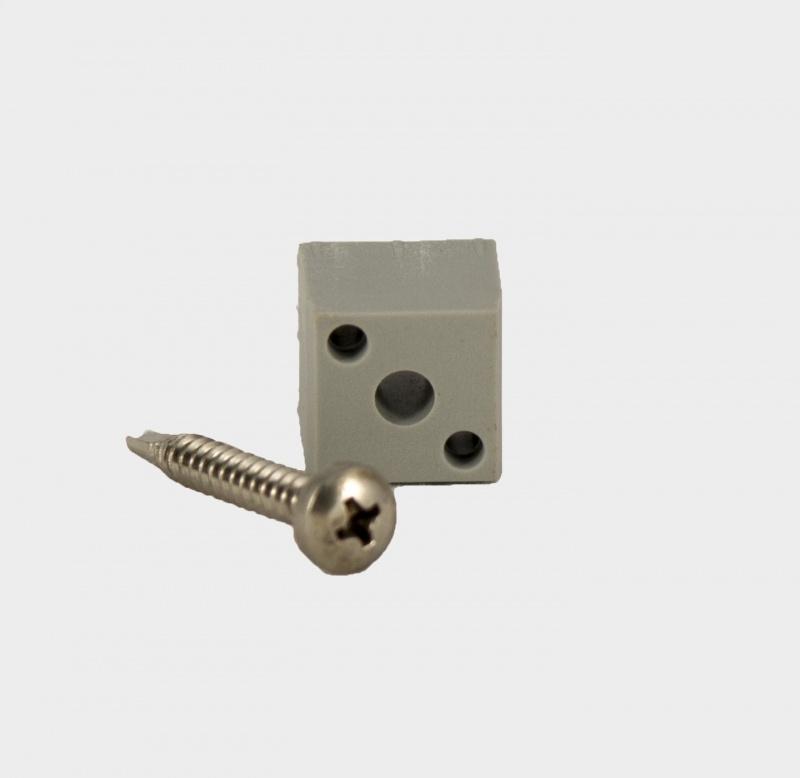 B20S Blindverbinding voor koker 20x20x1,5 inclusief zelfborende schroef.