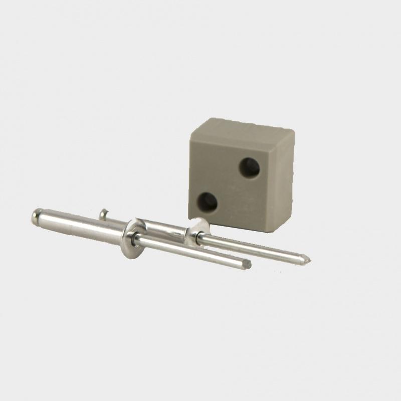 B25 P  Blindverbinding voor koker 25x25x2mm. inclusief popnagels.