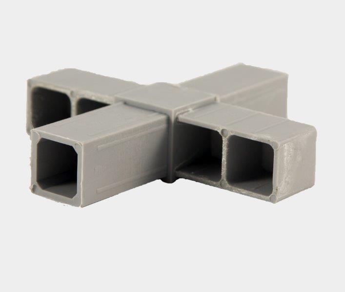 4P25 Hoekverbinder 4-weg vlak voor koker 25x25x2 mm. Grijs.