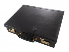 Lederen koffer van zwart plantaardig gelooid rundleder.
