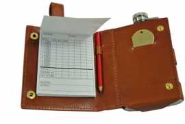 Hip flask / golf pouch with knot.
