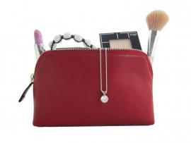 Make-up etui van rood nappa rundleder