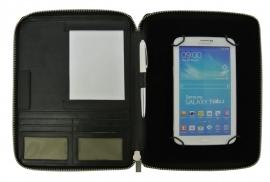 """Zwarte lederen tablet map met ritssluiting. Voor 7"""" t/m 8"""""""