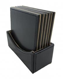 Set van 6 onderzetters in zwart leder