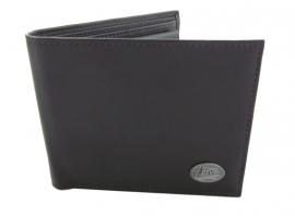 Lederen portemonnee met metalen plaatje