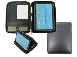 """Zwarte lederen tablet map met ritssluiting voor 7"""" t/m 10.5"""
