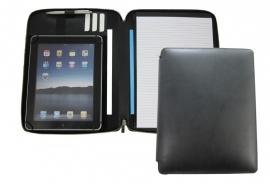 """Lederen A4 schrijfmap met ritssluiting voor 9.0"""" t/m 10.5"""" tablets"""