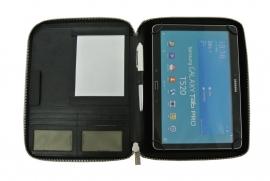 """Zwarte lederen tablet map met ritssluiting voor 9"""" t/m 10.5"""""""
