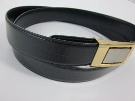 Lederen riem zwart croco/blauw met metalen gesp.