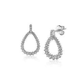 ZINZI zilveren oorhangers 18mm open druppelvorm witte zirconia's ZIO2123