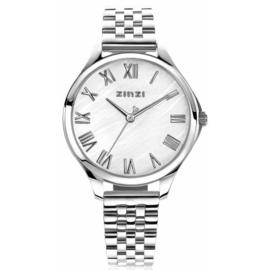 ZINZI horloge JULIA 34mm wit parelmoer wijzerplaat romeinse cijfers stalen kast en band ziw1117