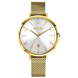 ZINZI horloge SOPHIE zilverkleurige wijzerplaat met datum, goudkleurige kast 38mm, stalen mesh band 16mm ZIW1433