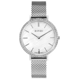 ZINZI horloge GRACE 34mm wit parelmoer wijzerplaat, rondom bezet met witte crystals, stalen kast en band ziw1317