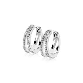 ZINZI zilveren creolen 2 banen open wit 16x5mm ZIO1482