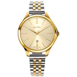 ZINZI Classy horloge 34mm goudkleurige wijzerplaat goudkleurige stalen kast en bicolor band, datum ziw1010