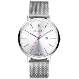 Zinzi Retro horloge zilvergekleurde wijzerplaat en kast stalen mesh band 38mm extra dun ZIW402M