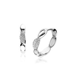 ZINZI zilveren luxe oorringen druppel wit 20x2,5mm ZIO1675CR