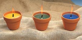 Feestkaarsen aarden potten in een verpakking van 3
