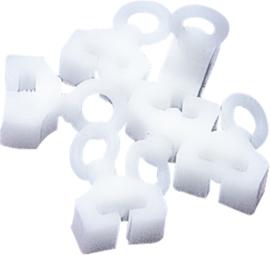 gordijnslot voor T-rail wit, 6 stuks