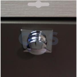 Knop+vierkant plaat Pushlock glanzend chroom