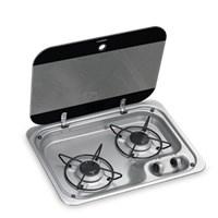 Dometic kookplaat RVS 2-pits met afdekplaat 30mb 460x335mm, Juli leverbaar
