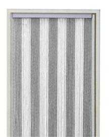 koordgordijn zilver / wit 100 x 220 cm