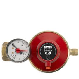 Gimeg universele gasdrukregelaar 1/4 inch links met afblaasbeveiliging/manometer 30mb