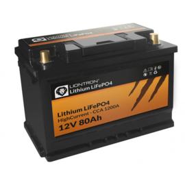 LIONTRON lithium  LiFePO4 12,8V 80Ah Hoge Stroom inclusief BMS