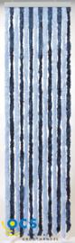 Chenille gordijn blauw/lichtblauw