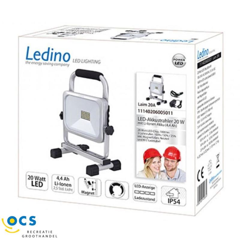 Ledino LED Schijnwerper accu 20A 20Watt 1600Lm