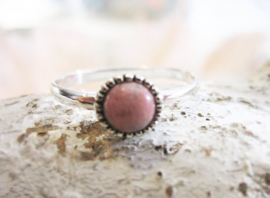 Ring - Rhodoniet - ronde steen - 925 Sterling Zilver - maat 7