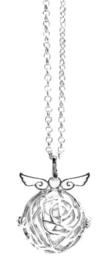 Engelenroeper roos zilver met vleugels 20 mm.