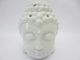 Aromabrander - wit - Boeddha hoofd - 13 cm