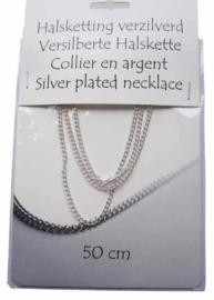 Halsketting - collier - verzilverd - 50 cm - gourmette schakel