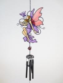 Elfje met vlinder - windgong - paars