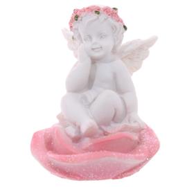 Beeld - Cherubijn - zittend op roze rozen - 6cm