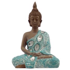 Beeld - Thaise Boeddha - Lotus - Turkoois - 13cm - A