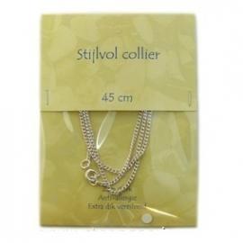 Halsketting - collier - verzilverd - 42 cm - gourmette schakel