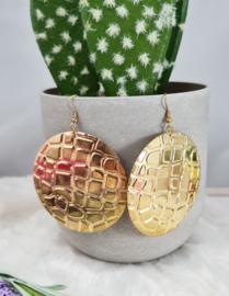 Oorbellen - animalprint - goudkleur -6cm
