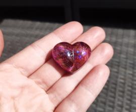 Orgonite - roze paars oranje - hart - 3 cm - no.3