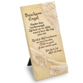Decoratie tegel - Bescherm engel - Arts in Stone - 15,5 cm