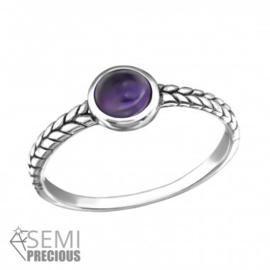 Ring - 925 Sterling Zilver - maat 6 - Amethist