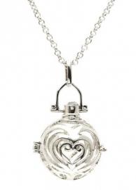 Engelenroeper zilverkleur bol met hartvorm 16 mm