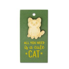 Houten Broche op cadeaukaartje - cute Cat